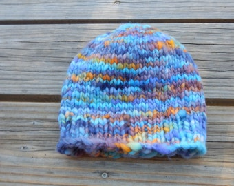Hand made wool hat - hand knitted hat with hand spun yarn - warm winter hat - kid to adult size hat