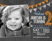 adorable chalkboard 2nd birthday invitation