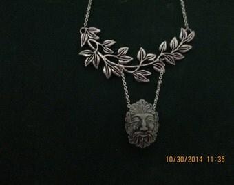 Necklace Greenman leaf