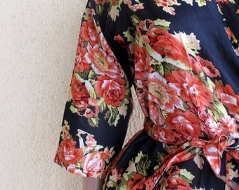 Black Bridesmaid Robe/ Getting Ready Dress/ Orange with Red and pink Flowers/ Mix and Match Floral Kimono Robes - Color Code - C-10