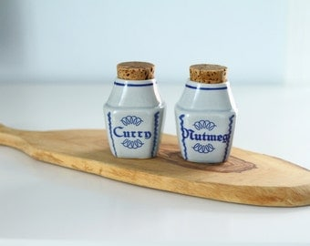 Vintage Denmark Soholm Set of Spice Jars Curry Nutmeg Cork Tops Blue and White Ceramic 1960s