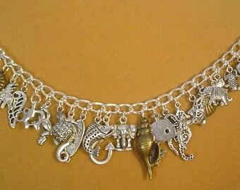 "8-1/2"" Fish and Animal Lovers' Charm Bracelet - B018"