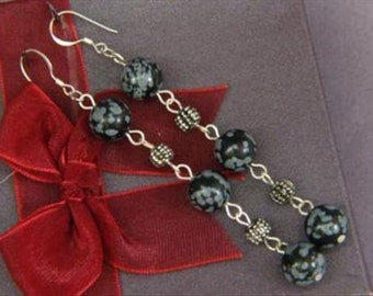 Earrings 3X Snowflake Obsidian 10mm Round Beads 925 ESOS1747