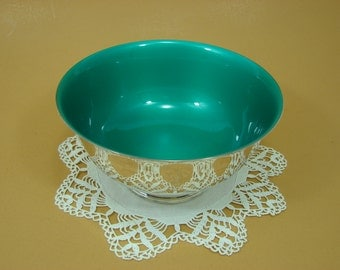 """Reed & Barton Tennis Trophy Bowl, Silver Pedestal Bowl with Green Enamel, 6-1/2"""" Silver Footed Bowl"""