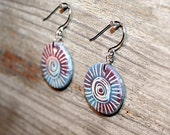 Coloful jewelry ceramic earrings - pastel colors, spiral motif