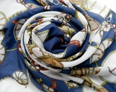 Printed Blue Scarf, Patterned Scarf, Lightweight Scarf, Silk Scarf, Chiffon Scarf, Summer Scarf, Spring Scarf, Gift idea for Her