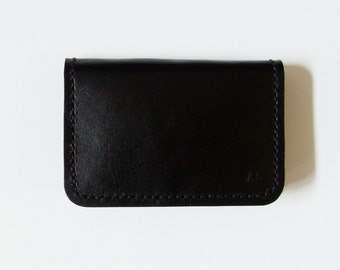 Leather Card Case - Leather Card Holder in Black - Simple Wallet for Men - Handmade and Hand Stitched - Free Monogram