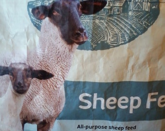 Ewe & Lamb Sheep Tote ~ upcycled feed bag made into a sturdy tote
