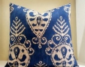 Ikat Print Sapphire Pillow Cover, FABRIC BOTH SIDES, Elegant Bedroom Decorative Pillow Cover - Select your size