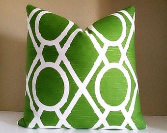 Dwell Studio Pillow Cover - Green Lattice Print Pillow Cover -  Pick Your Pillow Size - Available with solid back OR Dwell fabric both sides