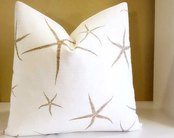 Starfish Pillow Cover - Nautical themed pillow - Available in multiple sizes - 16 inch to 24 inch Nautical fabric both sides or solid back