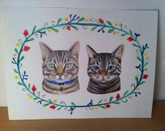 Custom pet portrait- Double trouble! watercolour, A5