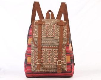 Authentic Ethnic Hand Weaving Daypack School backpack Folk Woven Textile Vintage Leisure Rucksack