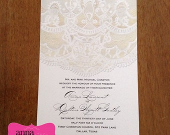 Vintage and Lace, Elegant & Beautiful BRIDAL SHOWER or Wedding Invitations - All wording, fonts, and font colors Customized