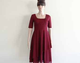 Burgundy Bridesmaid Dress. Dress With Sleeves