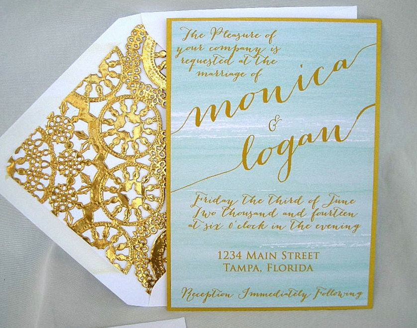 Mint Green And Gold Wedding Invitations: Wedding Invitation, Mint Green Painted Watercolor And Gold