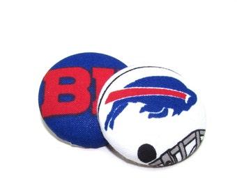 Oversized Buffalo Bills Print Button Earrings