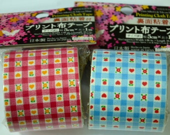 Japanese Fabric Tape- Hearts and Flower