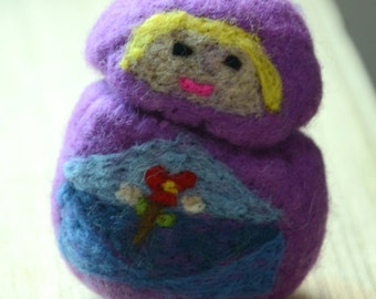 Needle Felted Doll/ Ornament: Girl in Purple Cape with a Flower