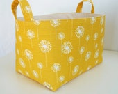 Extra Large Storage Basket Fabric Organizer in Yellow Dandelion with Handles - Your choice of size