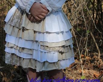 Girls Ruffle Skirt Upcycled Size 3T-4T