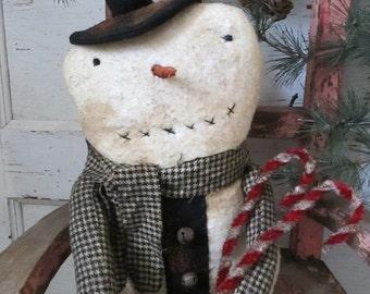 Made to Order~Primitive Grungy Folk Art ~Christmas Winter Prim Parson Snowman Doll~Hafair Team