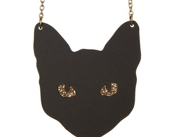 Black Cat necklace - laser cut acrylic
