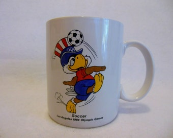 Mint Condition 1984 Summer OLYMPICS ~ SOCCER ~ Olympic Cup/ Mug ~ USA Olympic Games Los Angeles, California ~ Sam the Olympic Eagle