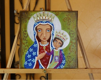 """Charming Original Mixed Media painting On canvas 10 x 10 inch (25 x 25 cm) """"Black Madonna """" by Evona"""