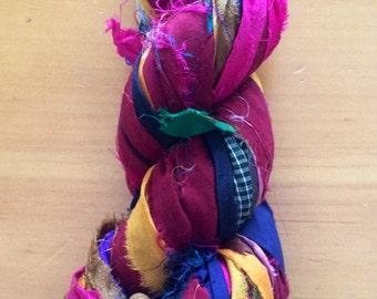 Recycled Silk Sari Ribbon - Art Yarn - Handmade, Eco-Friendly & Socially Responsible - 1 Skein