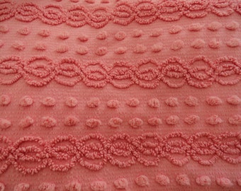 """Pink Cabin Crafts Needletuft Chenille with Double Rows of Popcorn Bedspread Fabric Piece...18 x 24"""""""