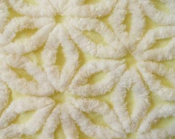 "Yellow Hofmann Daisy  Vintage Chenille Bedspread Fabric Piece...18 x 24"""