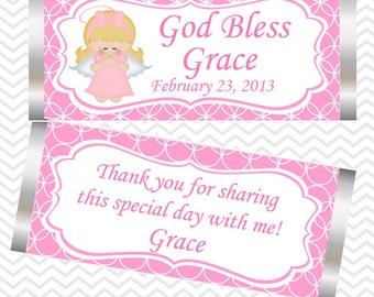 Kneeling Angel Girl Pink Girl Baptism Christening First Holy Communion - Personalized Candy Bar Wrapper