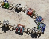 Millefiori Glass Daisy Silver Bracelet