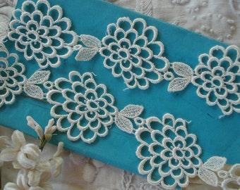 1/2y Vintage Venise Rayon Floral Mum Applique Lace Trim Edging Bridal Wedding Edwardian Doll Dress Crazy Quilt Tote Bag Collage Art