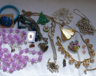 Jewelry Destash Lot 8-Necklaces,Earrings,Bracelets