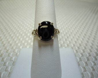 Cabochon Oval Black Onyx Ring in Sterling Silver