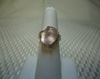 Oval Cut Rose Quartz Ring in Sterling Silver   #1277