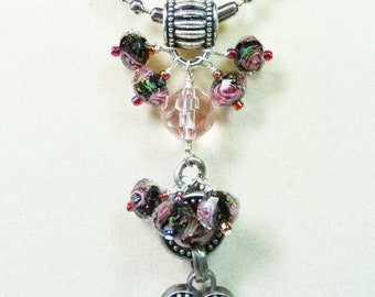 Charm Necklace, Heart Necklace with Lamp Work Beads, Silver Charm Drop Necklace, Chain Necklace with Charms