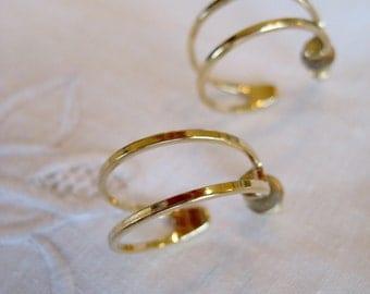 Vintage Gold Tone Hoop Earrings - Vintage 1970's Hoop Pierced Earrings - Classic Hoop Earrings