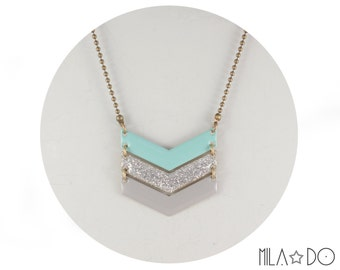 Tika necklace ombre mint light gray chevron || Enamel and brass arrow necklace