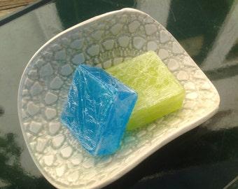 Handmade Soap Dish Pale Green Bathroom Ceramics made in UK
