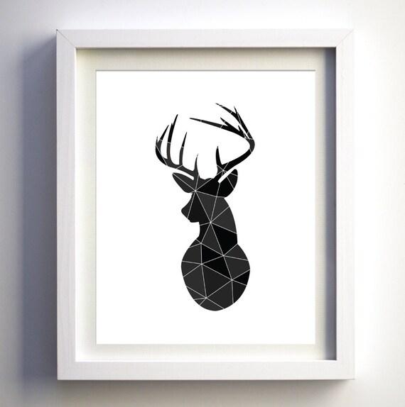 t te de cerf imprimer cerf g om trique art chasseur mur art. Black Bedroom Furniture Sets. Home Design Ideas