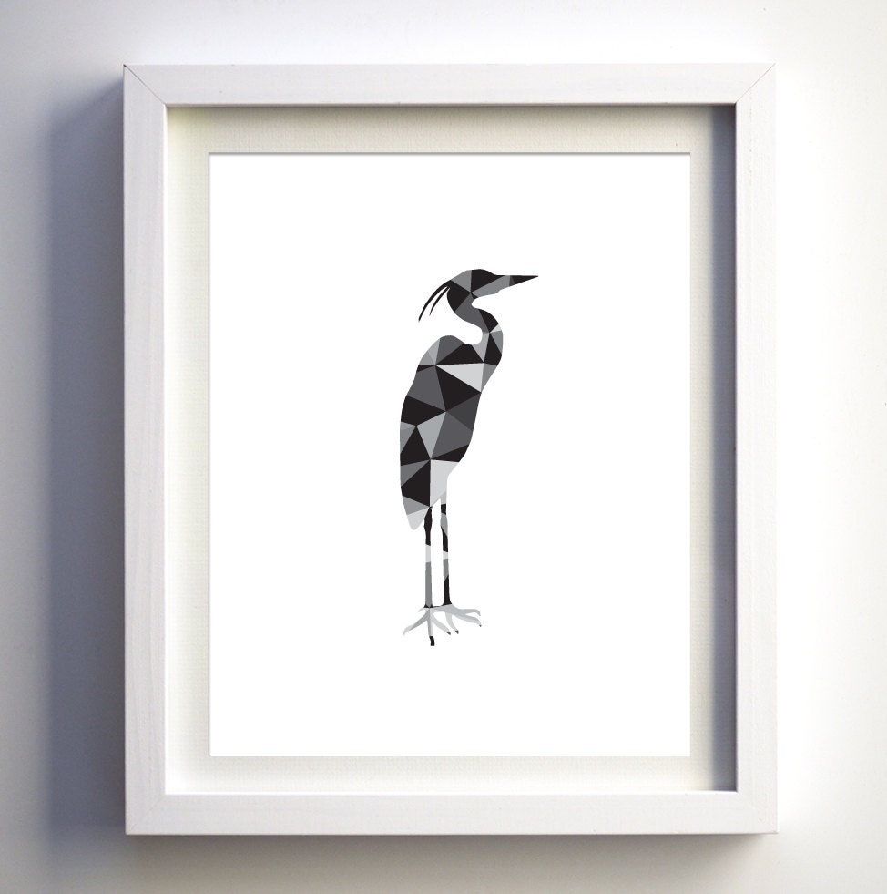 Black and white bird heron geometric animal wall art polygonal for Decor contemporain moderne