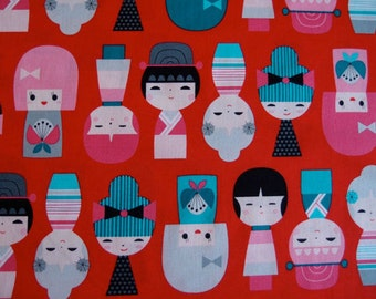 Kokeshi by Suzy Ultman Girls in Sweet for Robert Kaufman by the Yard