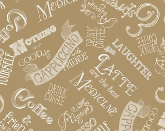 Windham - Blend by Fiona Stokes-Gilbert Words in Coffee 40320-2 by the Yard
