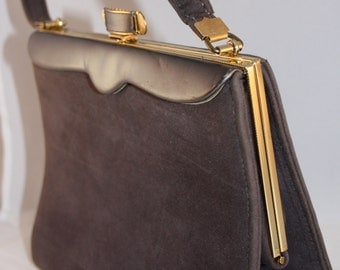 Vintage handbag gray velveteen1950s with gold tone clasp