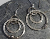 Hammered Silver Earrings, Circle Jewelry, Rustic Silver Earrings, Silver Dangles, Rustic Jewelry, Boho Earrings, Oxidized Silver Earrings