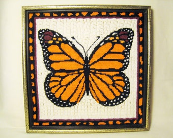 20% OFF SALE / Needlework Orange and Black Butterfly - Monarch Butterfly Embroidery in Square Faux Bamboo Frame / Mod 1960s - 1970s Wall Art