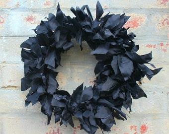 Black dupion silk wreath